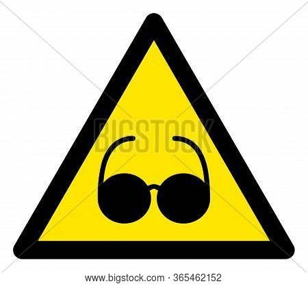 Raster Blind Flat Warning Sign. Triangle Icon Uses Black And Yellow Colors. Symbol Style Is A Flat B