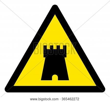 Raster Bulwark Tower Flat Warning Sign. Triangle Icon Uses Black And Yellow Colors. Symbol Style Is