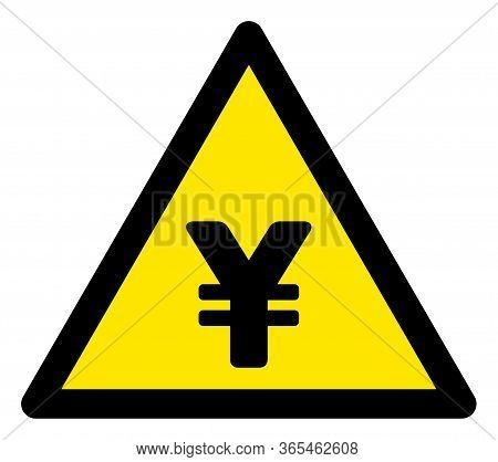 Raster Chinese Yuan Flat Warning Sign. Triangle Icon Uses Black And Yellow Colors. Symbol Style Is A