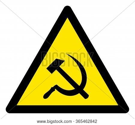 Raster Communism Flat Warning Sign. Triangle Icon Uses Black And Yellow Colors. Symbol Style Is A Fl