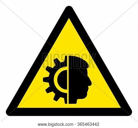Raster Cyborg Flat Warning Sign. Triangle Icon Uses Black And Yellow Colors. Symbol Style Is A Flat