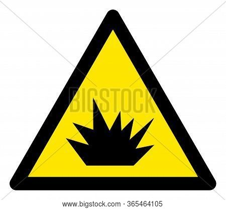 Raster Explosive Flat Warning Sign. Triangle Icon Uses Black And Yellow Colors. Symbol Style Is A Fl