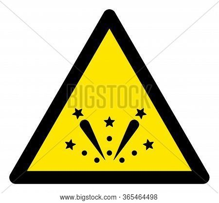 Raster Fireworks Flat Warning Sign. Triangle Icon Uses Black And Yellow Colors. Symbol Style Is A Fl