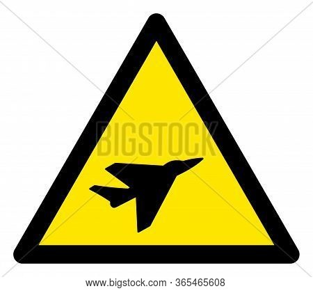 Raster Intercepter Airplane Flat Warning Sign. Triangle Icon Uses Black And Yellow Colors. Symbol St