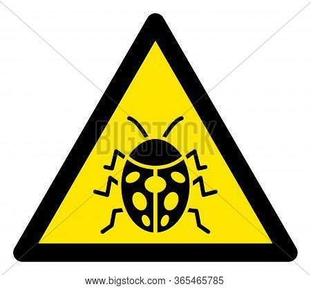 Raster Ladybug Flat Warning Sign. Triangle Icon Uses Black And Yellow Colors. Symbol Style Is A Flat