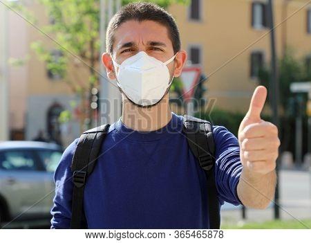 Covid-19 Positive Young Man Wearing Protective Mask Kn95 Ffp2 Avoiding Coronavirus Disease 2019 Show