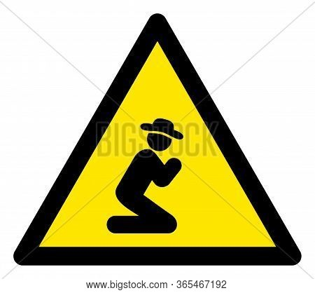 Raster Praying Gentleman Flat Warning Sign. Triangle Icon Uses Black And Yellow Colors. Symbol Style