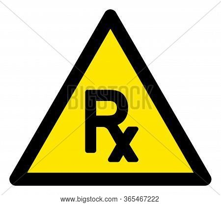 Raster Prescription Flat Warning Sign. Triangle Icon Uses Black And Yellow Colors. Symbol Style Is A