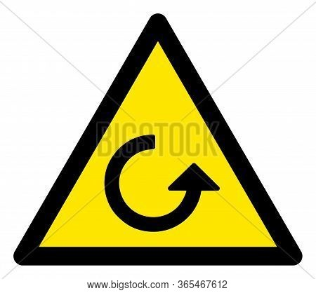 Raster Rotation Flat Warning Sign. Triangle Icon Uses Black And Yellow Colors. Symbol Style Is A Fla