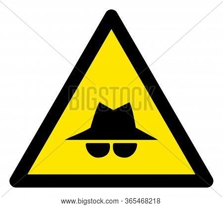 Raster Spy Flat Warning Sign. Triangle Icon Uses Black And Yellow Colors. Symbol Style Is A Flat Spy