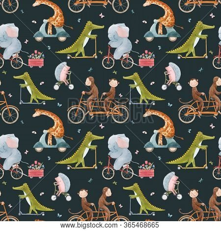 Beautiful Vector Seamless Pattern For Children With Watercolor Hand Drawn Cute Animals On Transport.