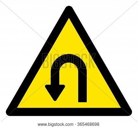 Raster U Turn Flat Warning Sign. Triangle Icon Uses Black And Yellow Colors. Symbol Style Is A Flat