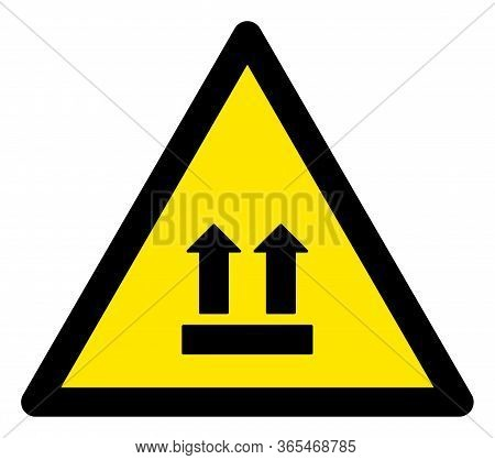 Raster Upward Direction Flat Warning Sign. Triangle Icon Uses Black And Yellow Colors. Symbol Style