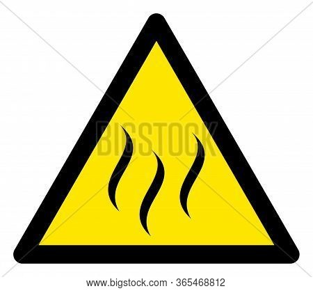 Raster Vapour Flat Warning Sign. Triangle Icon Uses Black And Yellow Colors. Symbol Style Is A Flat