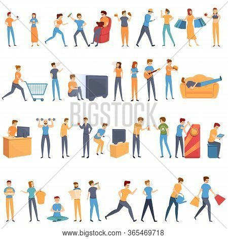 Habit Icons Set. Cartoon Set Of Habit Vector Icons For Web Design