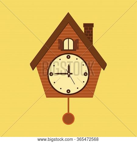 Vintage Wall Mounted Cuckoo Clock Alarm Clock Icon In Flat Design For Your Design Isolated On Yellow