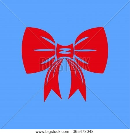 Icon Of Red Bow Isolated On Blue Background. Red Bow Is Suitable For Decorating Cards For The Holida