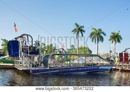 Everglades, United States Of America - April 27, 2019: Tourist Airboat Moored Awaiting Tourists In E