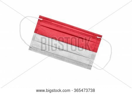 Medical Mask With Flag Of Indonesia Isolated On White. Indonesia Pandemic Concept. Coronavirus Outbr