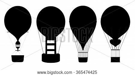 Balloons Icons. Hot Air Balloons Silhouettes Isolated On White Background. Air Balloon For Adventure