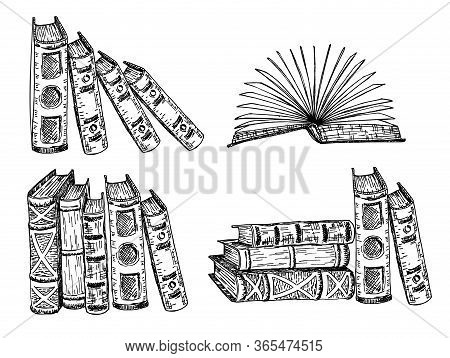 Books Vector Sketch Collection. Pile Of Books. Hand Drawn Illustration In Sketch Style. Library, Boo