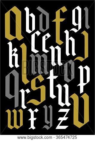 Composition Of Gothic Letters Background. Gothic Alphabet On A Black Background.