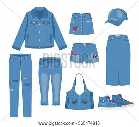 Jeans Clothing Set. Trendy Fashion Ripped Denim Casual Clothes Vector Illustration. Jeans Garments M