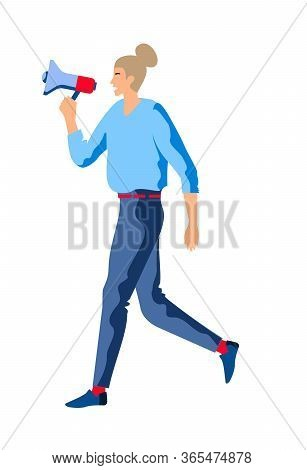 Woman With Megaphone. Speaker Holding A Megaphone. Promoter Advertising Using A Speaker. Business Wo