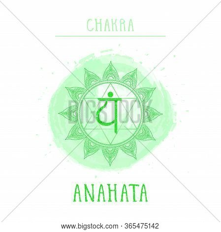 Vector Illustration With Symbol Chakra Anahata - Heart Chakra And Watercolor Element On White Backgr