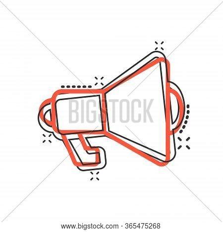 Megaphone Speaker Icon In Comic Style. Bullhorn Cartoon Sign Vector Illustration On White Isolated B