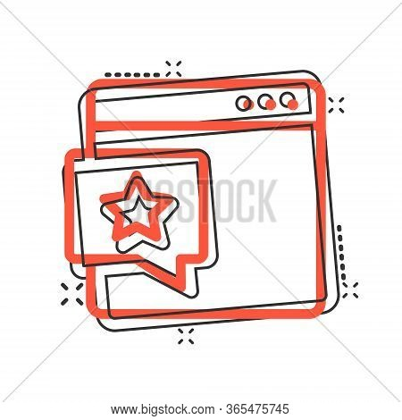 Browser Window With Star Icon In Comic Style. Wish List Cartoon Vector Illustration On White Isolate