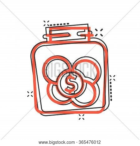 Money Box Icon In Comic Style. Coin Jar Container Cartoon Vector Illustration On White Isolated Back