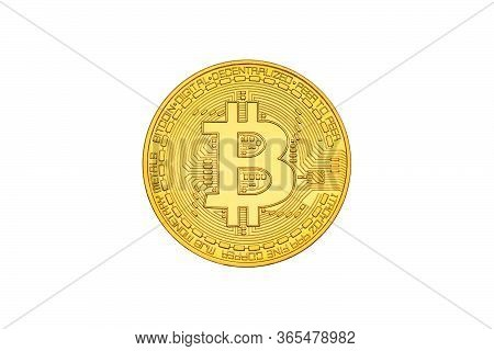 One Bitcoin Close-up With Bit Symbol Isolated On White Background. Head Side. Crypto-currency Backgr