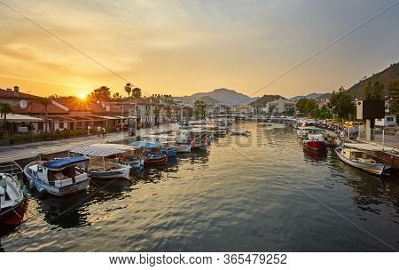 Marmaris Marina Landscape Beautiful Sunset Citycape Touristic Destination View Of Mugla City, Turkey