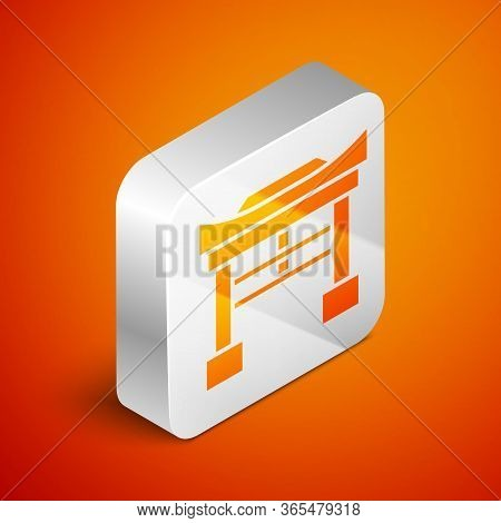 Isometric Japan Gate Icon Isolated On Orange Background. Torii Gate Sign. Japanese Traditional Class