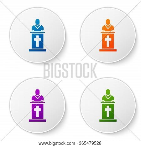 Color Church Pastor Preaching Icon Isolated On White Background. Set Icons In Circle Buttons. Vector