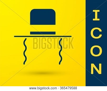 Blue Orthodox Jewish Hat With Sidelocks Icon Isolated On Yellow Background. Jewish Men In The Tradit