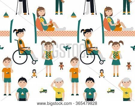 Seamless Pattern With Children With Broken Bones. Boys And Girls On Crutches Or In A Wheelchair With