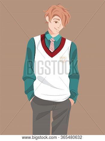 Young Smiling Student Of University Or School In Uniform. Millennial Generation Character Teen. Happ