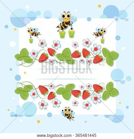 Strawberry Poster. Bee Swarm Collects Honey. Bright Flowers, Berries And Insects. Vector Illustratio