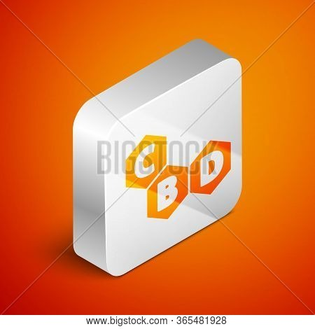 Isometric Cannabis Molecule Icon Isolated On Orange Background. Cannabidiol Molecular Structures, Th