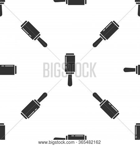 Grey Adhesive Roller For Cleaning Clothes Icon Isolated Seamless Pattern On White Background. Gettin