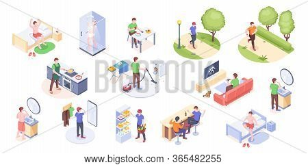 Man Daily Life, Home Routine And Everyday Life, Vector Isometric Icons. Man Daily Work Day And Leisu
