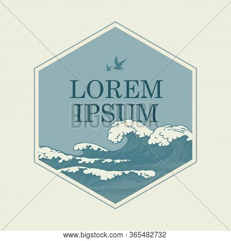 Vector Banner In The Shape Of A Hexagon With Hand-drawn Waves, Seagulls In The Sky And A Place For T