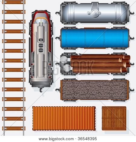 Abstract Railroad Cargo Train. Detailed Illustration Include: Locomotive, Oil Tank, Refrigerated Van, Freight Flat Wagon, Boxcar. Top View Position