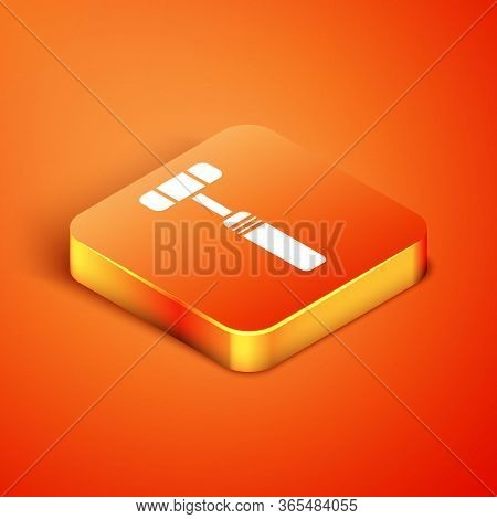 Isometric Neurology Reflex Hammer Icon Isolated On Orange Background. Vector Illustration