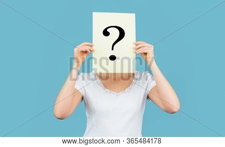 Unknown Woman Holding Question Mark. Girl Holding Paper Question Mark. Anonymous, Woman Question, In