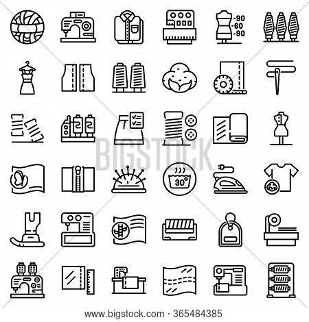 Textile Production Icons Set. Outline Set Of Textile Production Vector Icons For Web Design Isolated