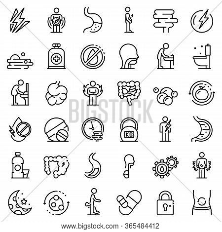Digestion Icons Set. Outline Set Of Digestion Vector Icons For Web Design Isolated On White Backgrou