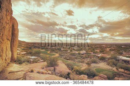 Desert community landscape of North Scottsdale,Az from above.
